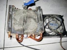 Cooling fan with dusts
